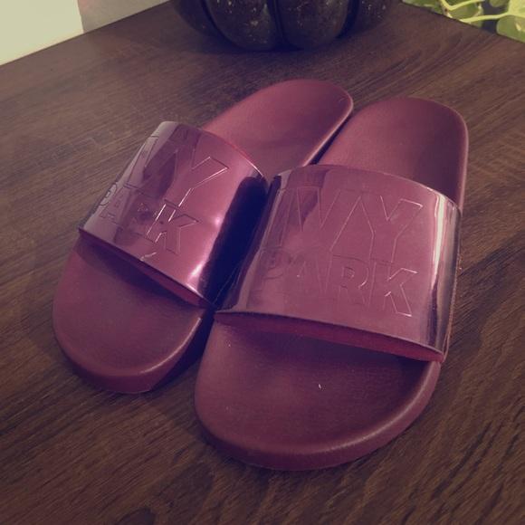 6f03f83f2 IVY PARK Shoes | High Shine Embossed Slides | Poshmark